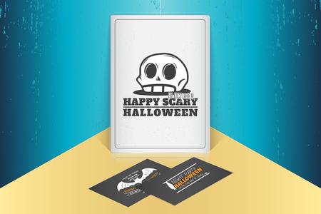 Fijne Halloween. Uitnodiging voor een feestje van Halloween. Bespeel stijl. Typografische labels, stickers, logo's en badges. Platte vectorillustratie