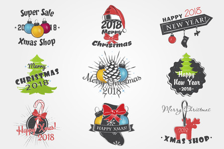 Set of New Year and Merry Christmas. Christmas shopping. Year of the dog. Detailed elements. Old retro vintage grunge. Typographic labels, stickers, logos and badges. Ilustrace