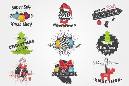 Set van Nieuwjaar en Merry Christmas. Kerstinkopen doen. Jaar van de hond. Gedetailleerde elementen. Oude retro vintage grunge. Typografische labels, stickers, logo's en badges.
