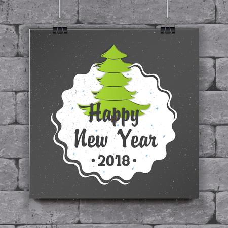 Gelukkig Nieuwjaar en Merry Christmas-wenskaartontwerp. Stock Illustratie