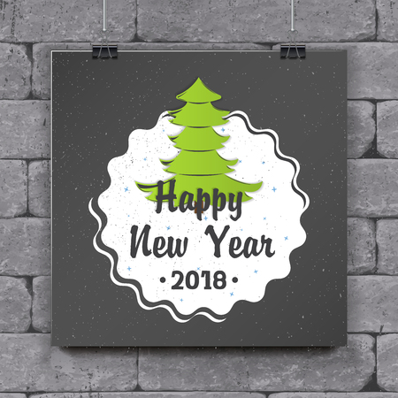 Happy New Year and Merry Christmas greeting card design.