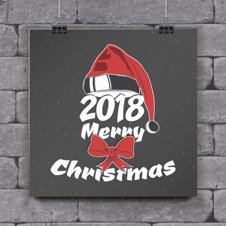 Happy New Year and Merry Christmas. Christmas shopping. Year of the dog. Detailed elements. Old retro vintage grunge. Typographic labels, stickers, logos and badges.