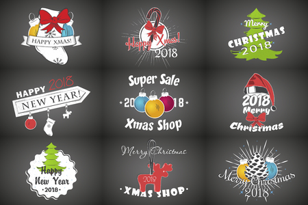 Set of New Year and Merry Christmas. Christmas shopping. Year of the dog. Detailed elements. Old retro vintage grunge. Typographic labels, stickers, logos and badges. Illustration