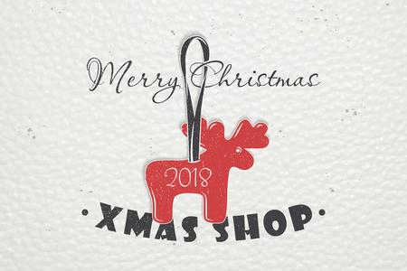 Gelukkig nieuwjaar en vrolijk kerstfeest. Kerstinkopen doen. Jaar van de hond. Gedetailleerde elementen. Oude retro vintage grunge. Typografische labels, stickers, logo's en badges.