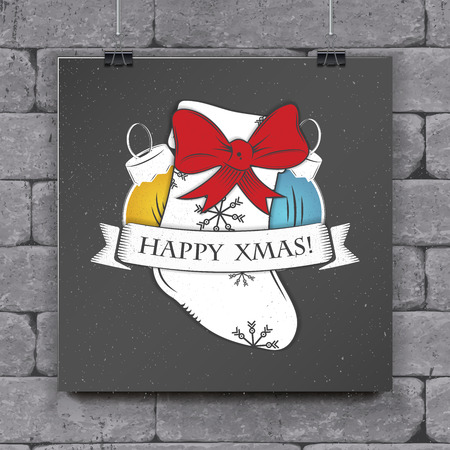 Christmas greeting card design concept. Stok Fotoğraf - 91054427