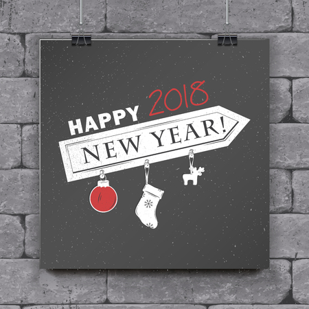Happy New Year and Merry Christmas. Christmas shopping. Year of the dog. Detailed elements. Old retro vintage grunge. Typographic labels, stickers, logos and badges. Flat vector illustration.
