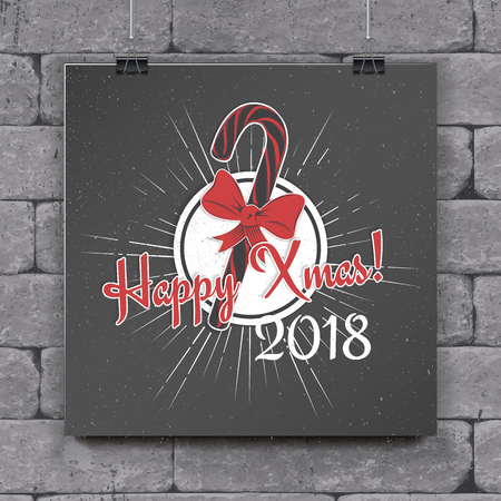 Happy New Year and Merry Christmas. Christmas shopping. Year of the dog. Detailed elements. Old retro vintage grunge. Typographic labels, stickers, logos and badges. Flat vector illustration