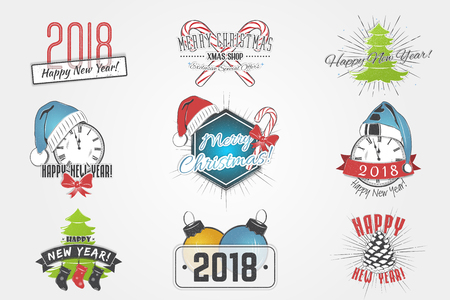 Set of New Year and Merry Christmas. Christmas shopping. Year of the dog. Detailed elements. Old retro vintage grunge. Typographic labels, stickers, logos and badges. Flat vector illustration