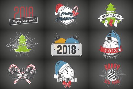 Set van Nieuwjaar en Merry Christmas. Kerstinkopen doen. Jaar van de hond. Gedetailleerde elementen. Oude retro vintage grunge. Stock Illustratie
