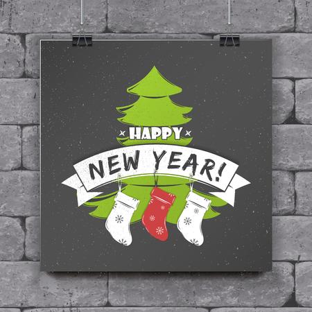 Gelukkig nieuwjaar en vrolijk kerstfeest. Kerstinkopen doen. Jaar van de hond. Stock Illustratie