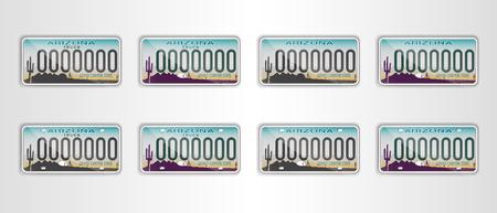 Establecer la matrícula de automóvil de Arizona. Objeto detallado. Ilustración de vector plano.