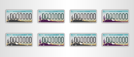 Set Arizona auto license plate. Detailed object. Flat vector illustration. Stockfoto - 105357206