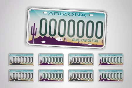 Set Arizona auto license plate. Detailed object. Flat vector illustration.