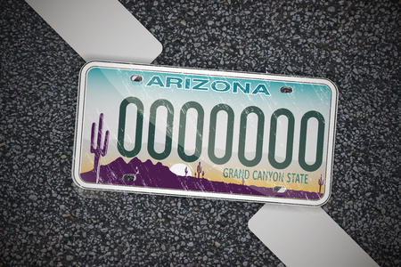 Arizona auto license plate, on the asphalt. Detailed object. Flat vector illustration.