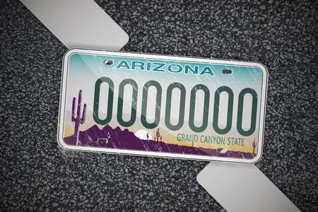 Tablica rejestracyjna samochodu Arizona, na asfalcie. Szczegółowy obiekt. Ilustracja wektorowa płaski.