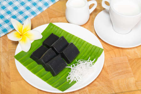 black coconut sweet pudding Dessert photo