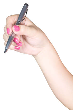 hand holding pen: Woman hand holding pen Stock Photo