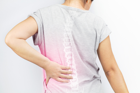 spine bones injury white background Standard-Bild