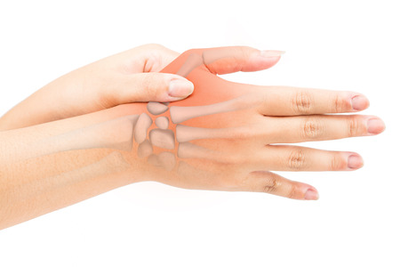 finger bone pain white background