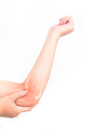 elbow muscle  injury white background Stock Photo