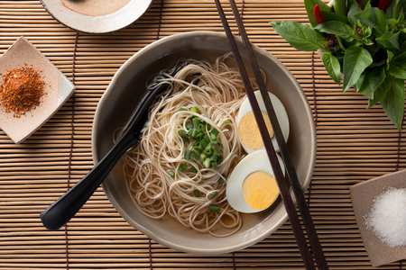 Asian noodles, bowl of noodles with vegetables