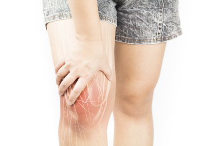 Knee muscle pain Stock Photo