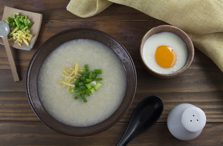 rice porridge breakfast flat lay