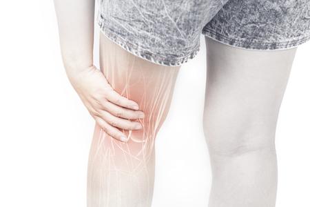 Leg muscle pain white background leg injury