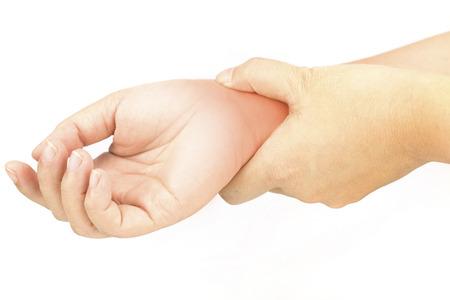 wrist bones injury white background wrist pain Stockfoto