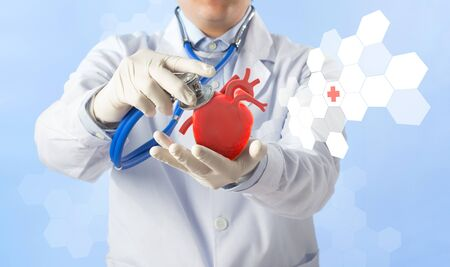 Doctor hold heart listens heart pulse, cardiology symptoms , 3D concept