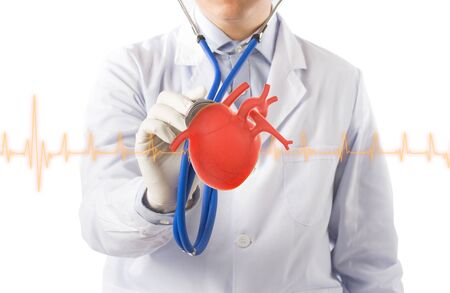 doctor hold heart listens heart, cardiology symptoms in white background