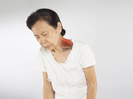 old asian woman feel neck muscle pain