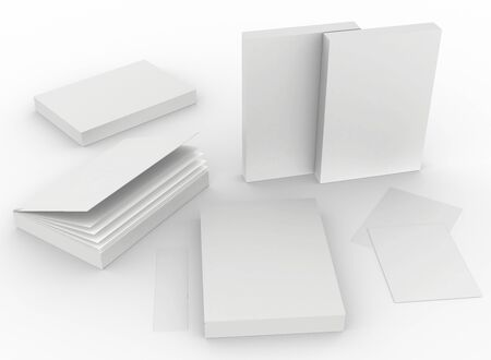 template empty book mockup set white background , 3d rendering