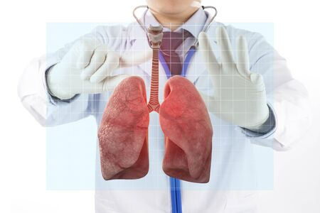 doctor check respiratory of lung , lungs disease , 3D concept Stock fotó - 136596395