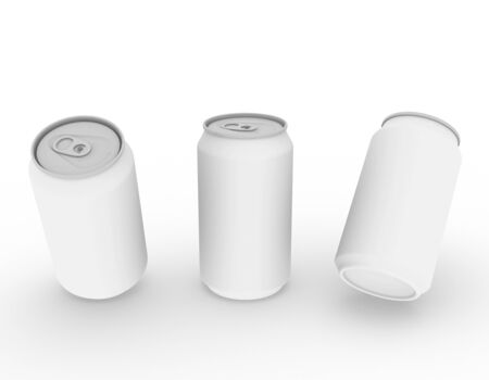 Template empty can mockup white