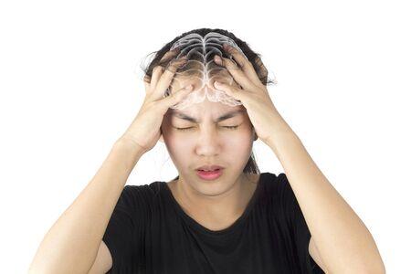 woman headache migraine brain pain health care