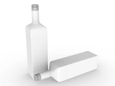template empty bottle mockup white background , 3d rendering Stock Photo