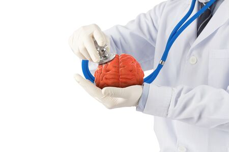 doctor use stethoscope check 3D brain , concept brain disease Stock Photo