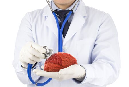 doctor use stethoscope check 3D brain , concept brain disease Stock fotó - 135874869