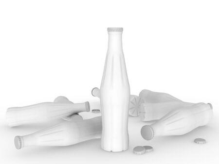 template empty bottle mockup white background , 3d rendering Stock fotó