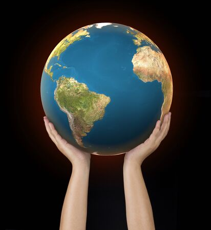 human hand hold the world to protect from global warming Stock fotó - 137228394