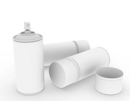 template empty spray bottle mockup white background , 3d rendering
