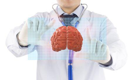 doctor check hologram 3D brain , concept brain disease Stock fotó