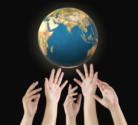 human hand save the world to protect from global warming