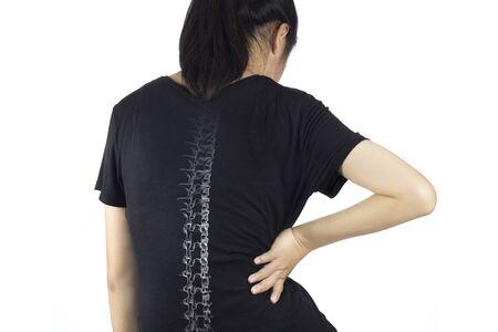 asian woman feel spine bones pain Stock fotó