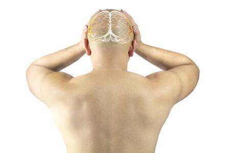 asian man touch head feel headache migraine , x-ray brain