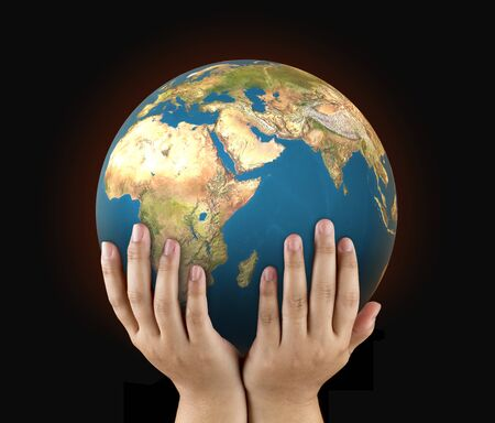 human hand hold the world to protect from global warming