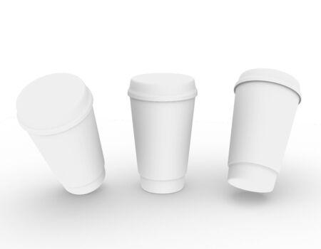 template empty plastic glass mockup white background , 3d rendering Stock fotó - 138154124