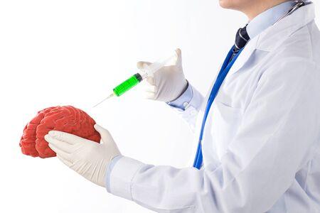 doctor drug injected on brain , concept brain disease