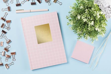 flat lay stationery collocate on work desk in pastel colorful background Stock fotó - 138344057